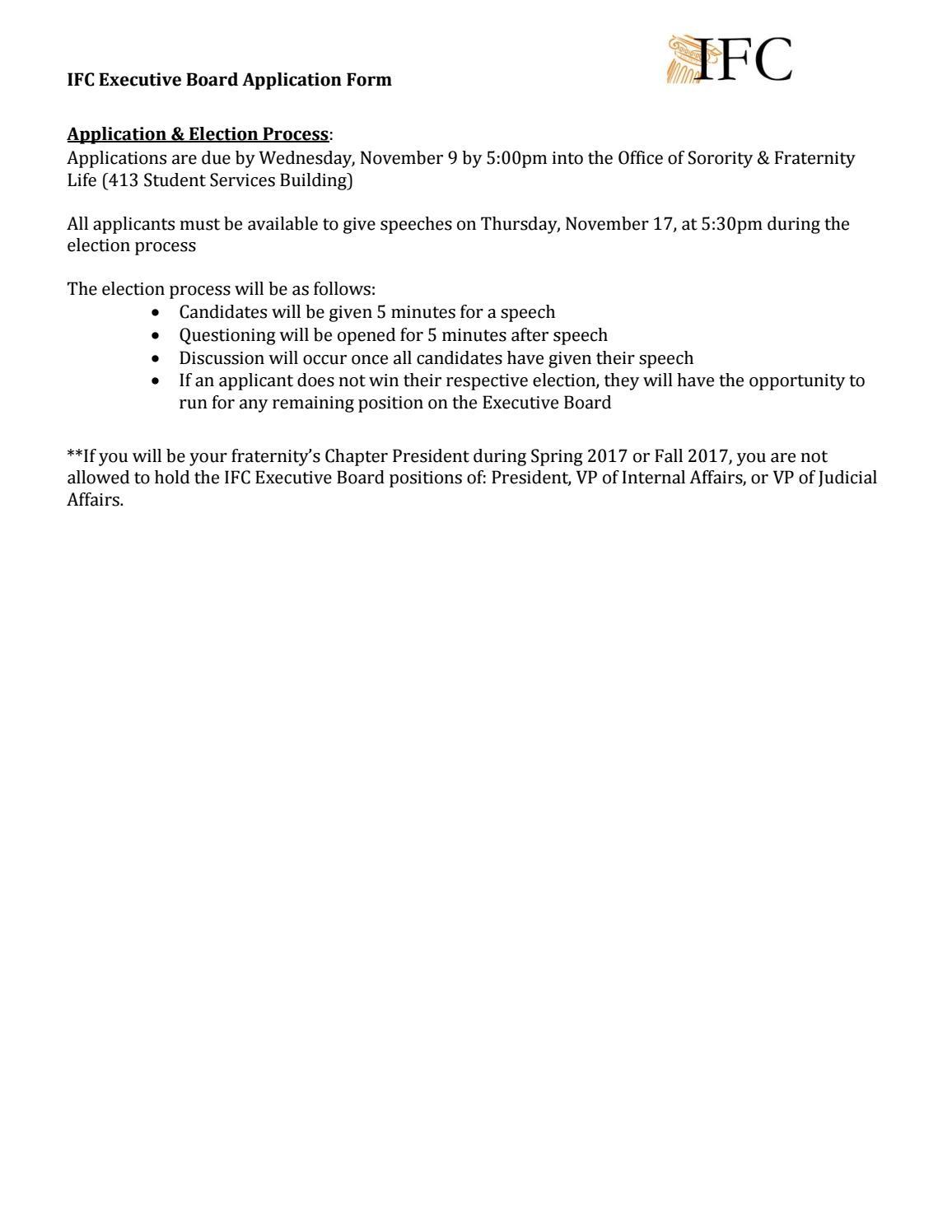 IFC Executive Board Application by UTK Office of Sorority