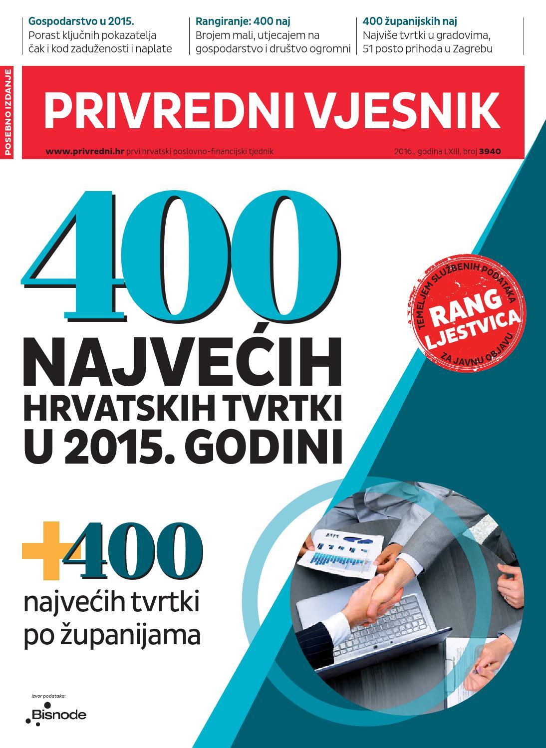 400 najvećih hrvatskog gospodarstva 2015. godine by Privredni vjesnik -  issuu