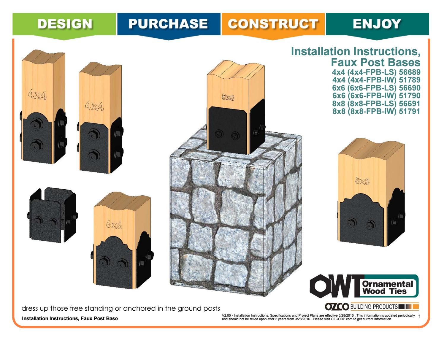 517 56689 90 91 Faux Post Base Installation Instructions By Ozco Building Products Issuu