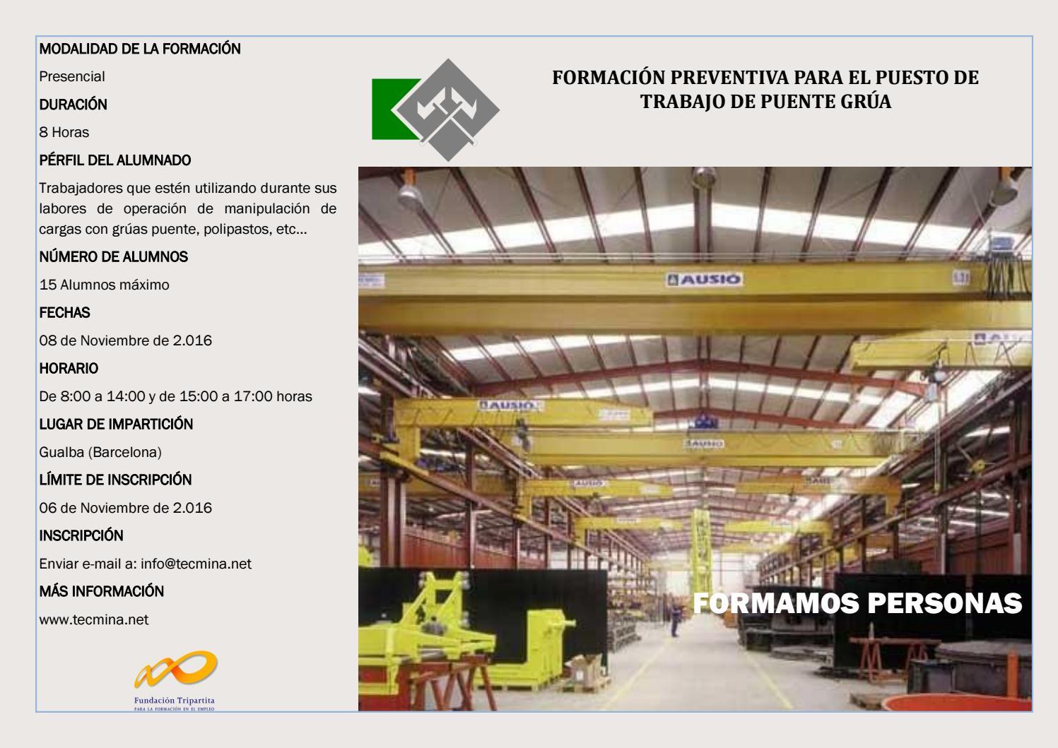Formacion Preventiva Para El Puesto De Trabajo De Puente Grua By