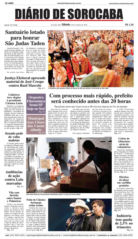 40099d2c7e Edição de 29 de outubro de 2016 by DIÁRIO DE SOROCABA - issuu
