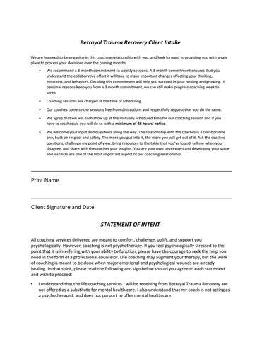 Betrayal Trauma Recovery Intake Form by PollyScott - issuu