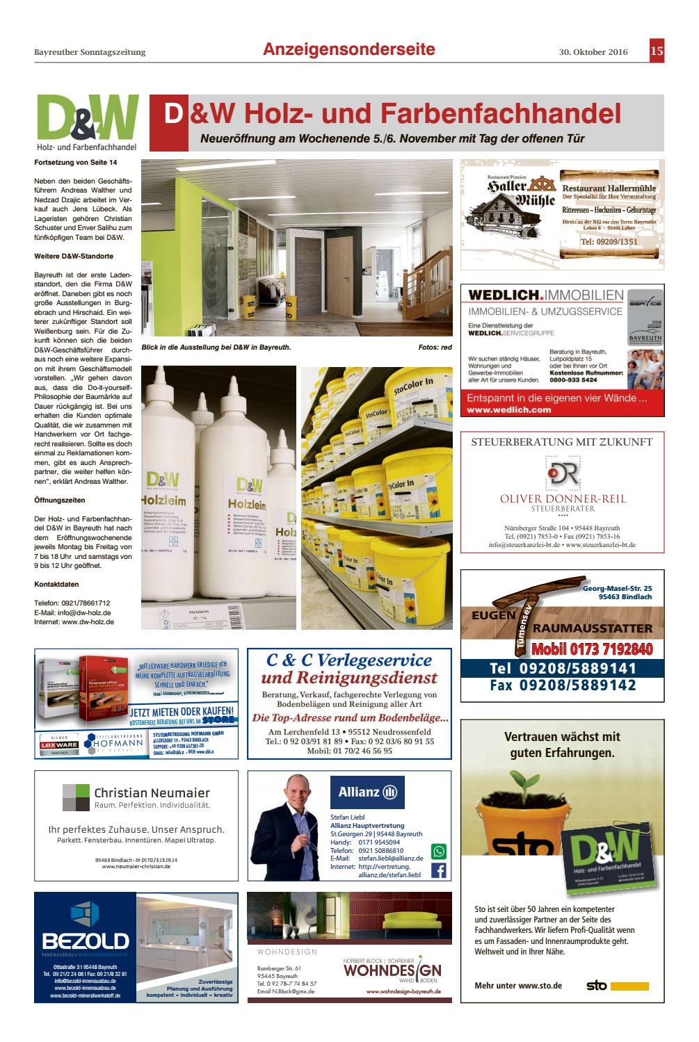 Bayreuther Sonntagszeitung Vom 30 10 2016 By Bayreuther