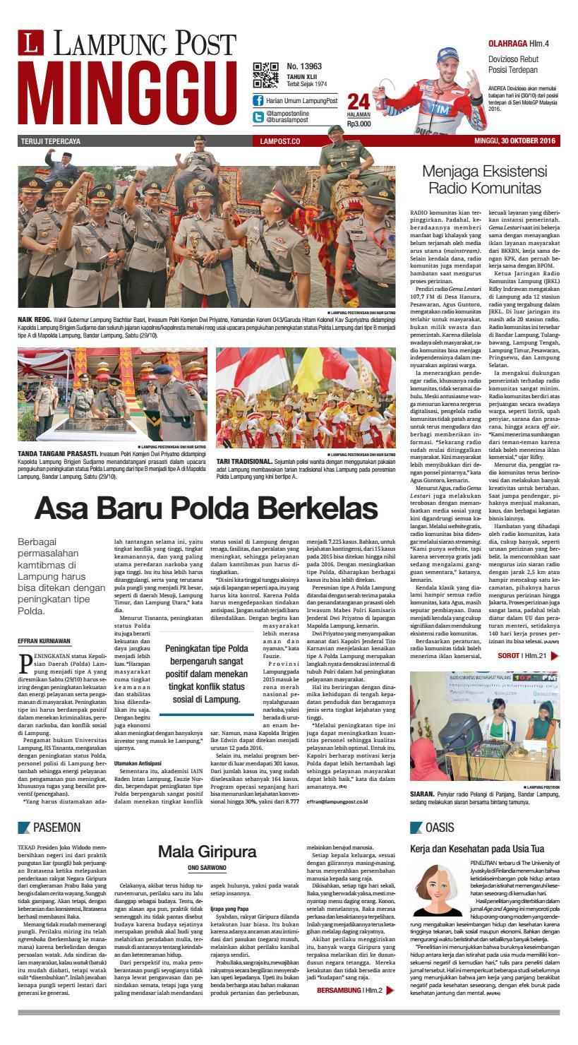Lampung Post Minggu 30 Oktober 2016 By Issuu Produk Ukm Bumn Sulam Usus Pmk