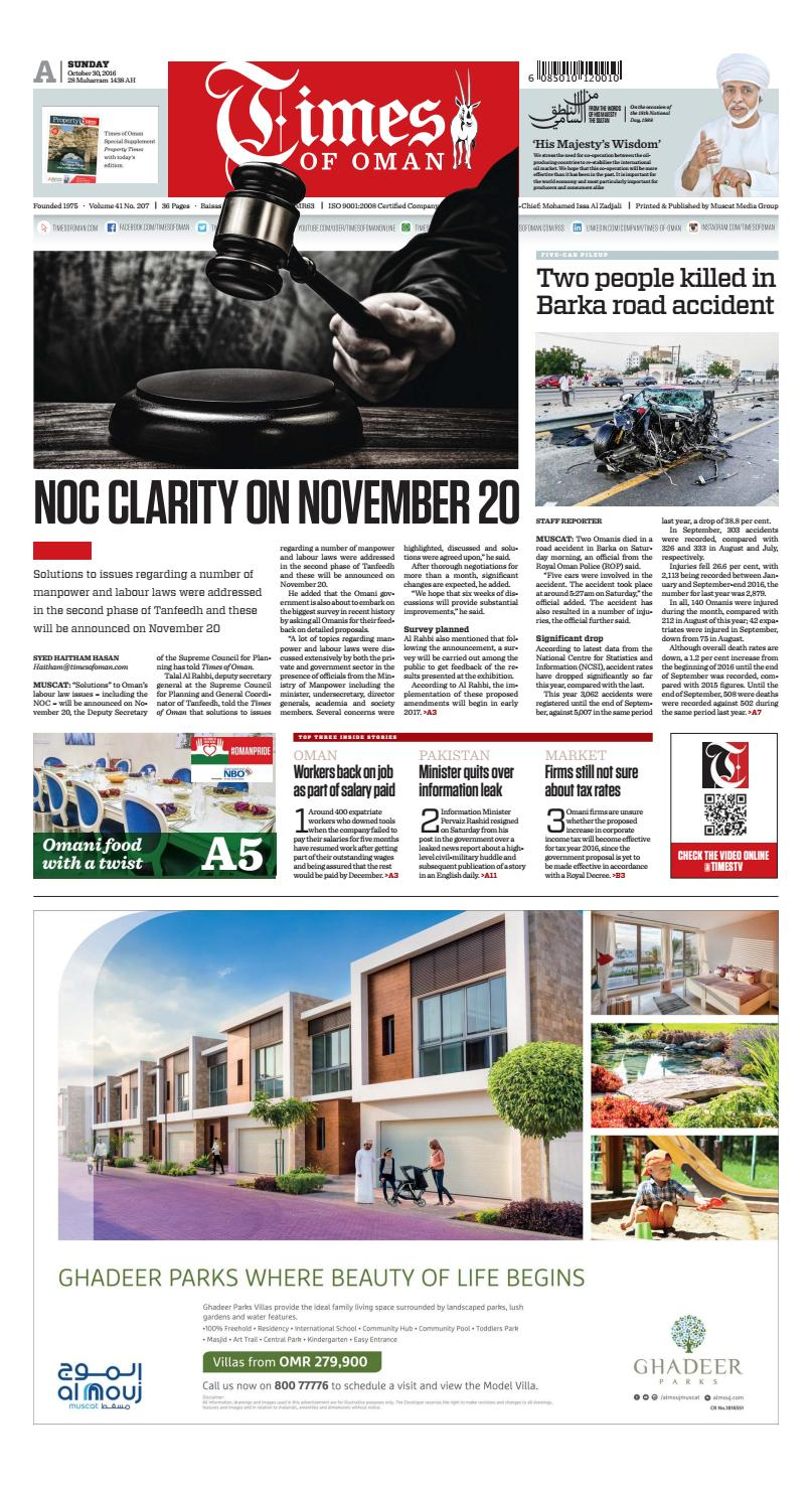 Times of Oman - October 30, 2016 by Muscat Media Group - issuu
