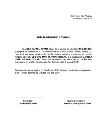 Carta de autorizaci n inter by daniela aponte issuu for Banco de venezuela solicitud de chequera