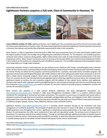 Stone Canyon - Houston, TX by Lighthouse Partners, LLC - issuu