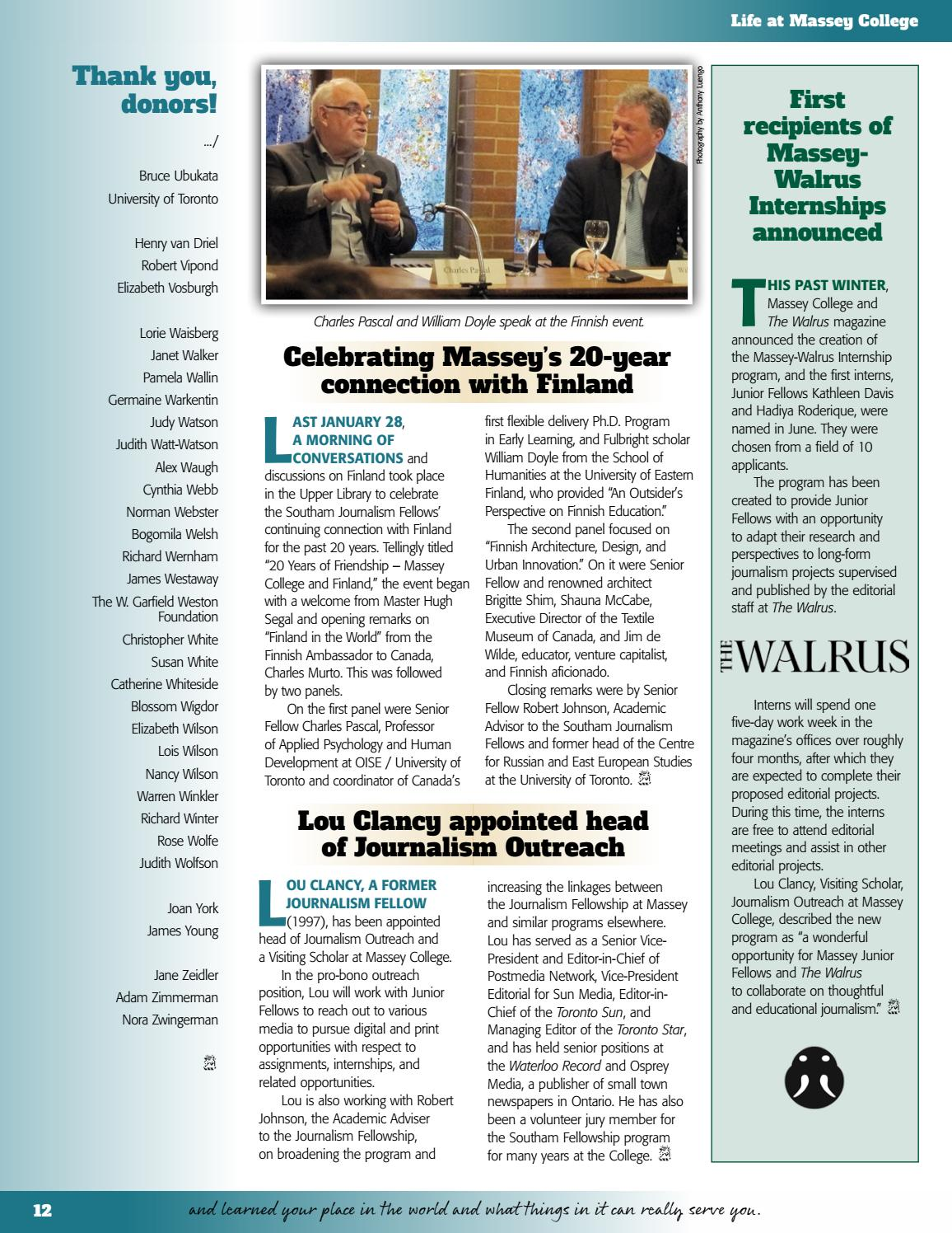 Massey News 2015-16 by Massey College - issuu