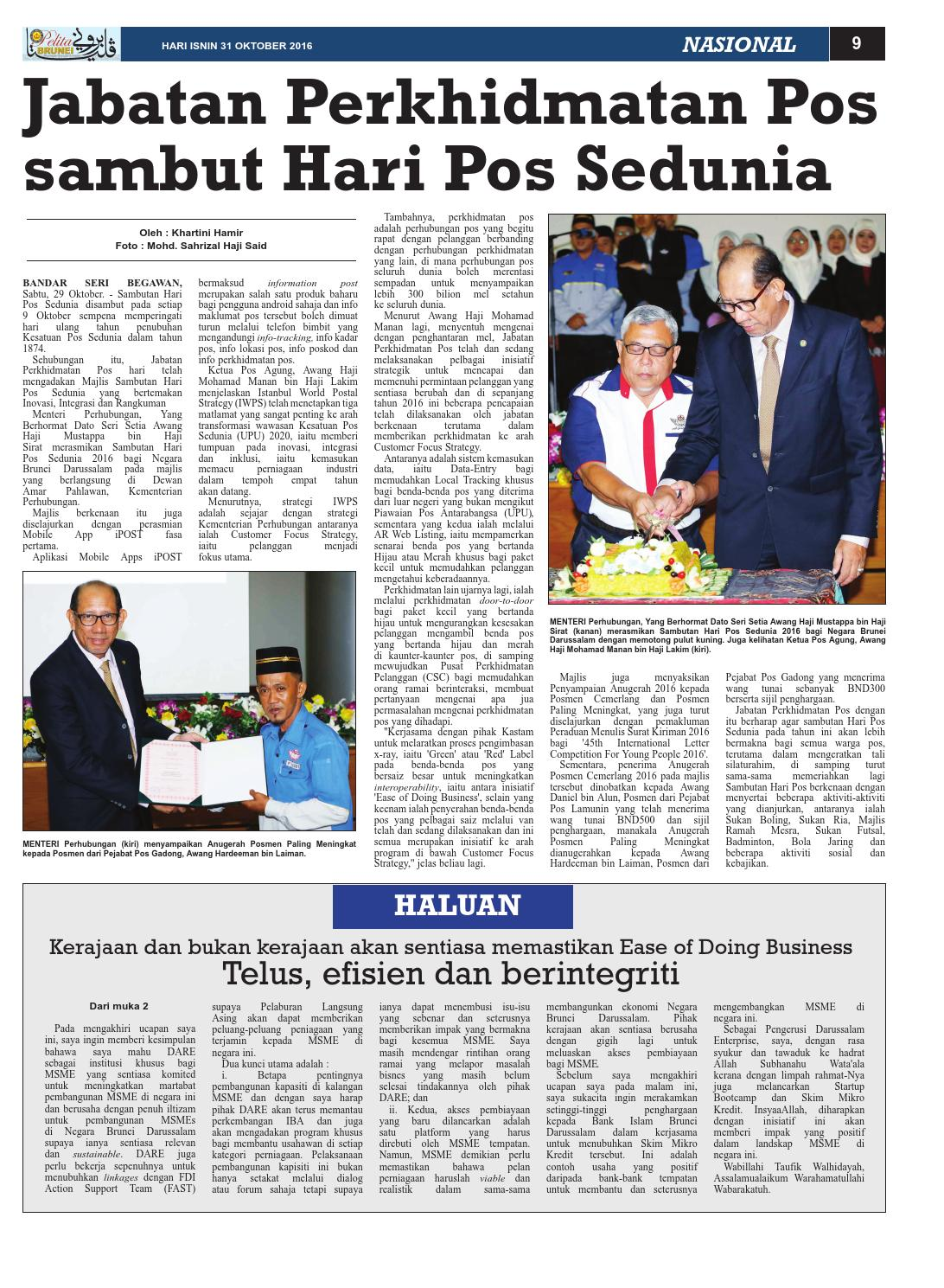 Pelita Brunei - Isnin 31 Okt 2016 by Putera Katak Brunei - issuu