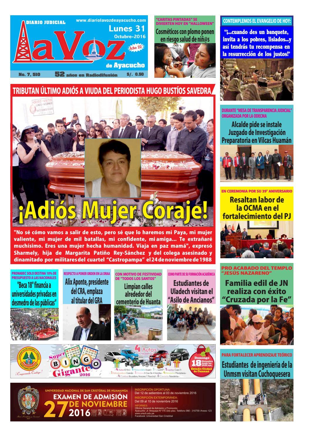 Edicion J 7510 Lunes 31 Octubre 2016 By Diario La Voz De Ayacucho  # Muebles Ludena Chimbote