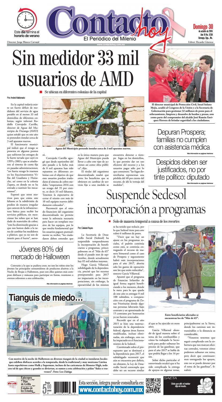 Peri Dico Contacto Hoy Del 30 De Octubre Del 2016 By Contacto Hoy  # Muebles Dico Tehuacan