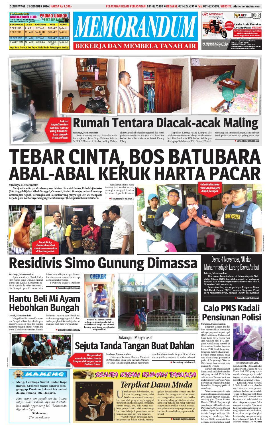 memorandum edisi 31 oktober 2016 by memorandum issuu