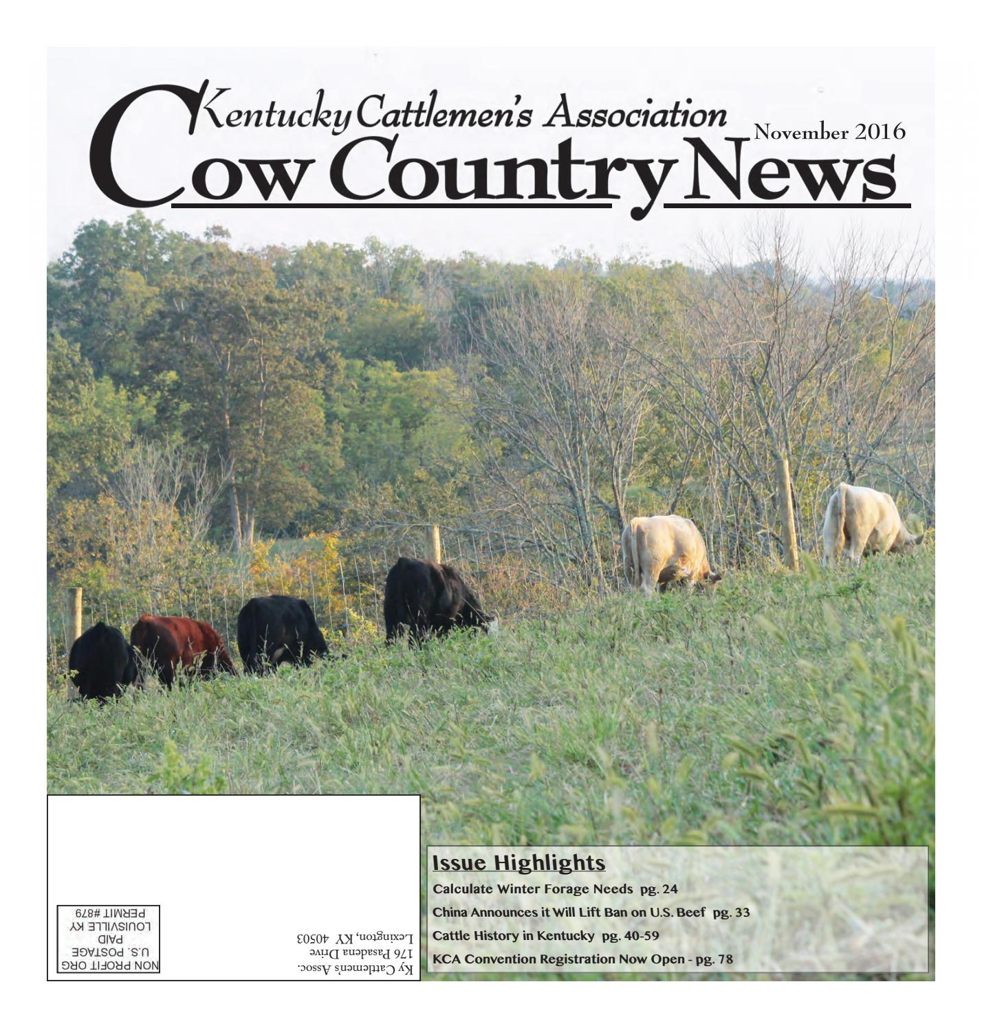 Cow Country News - November 2016 by The Kentucky Cattlemen's