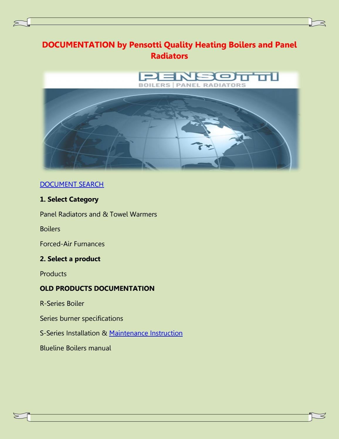 DOCUMENTATION by Pensotti Quality Heating Boilers and Panel Radiators by  Afric Koputh - issuu