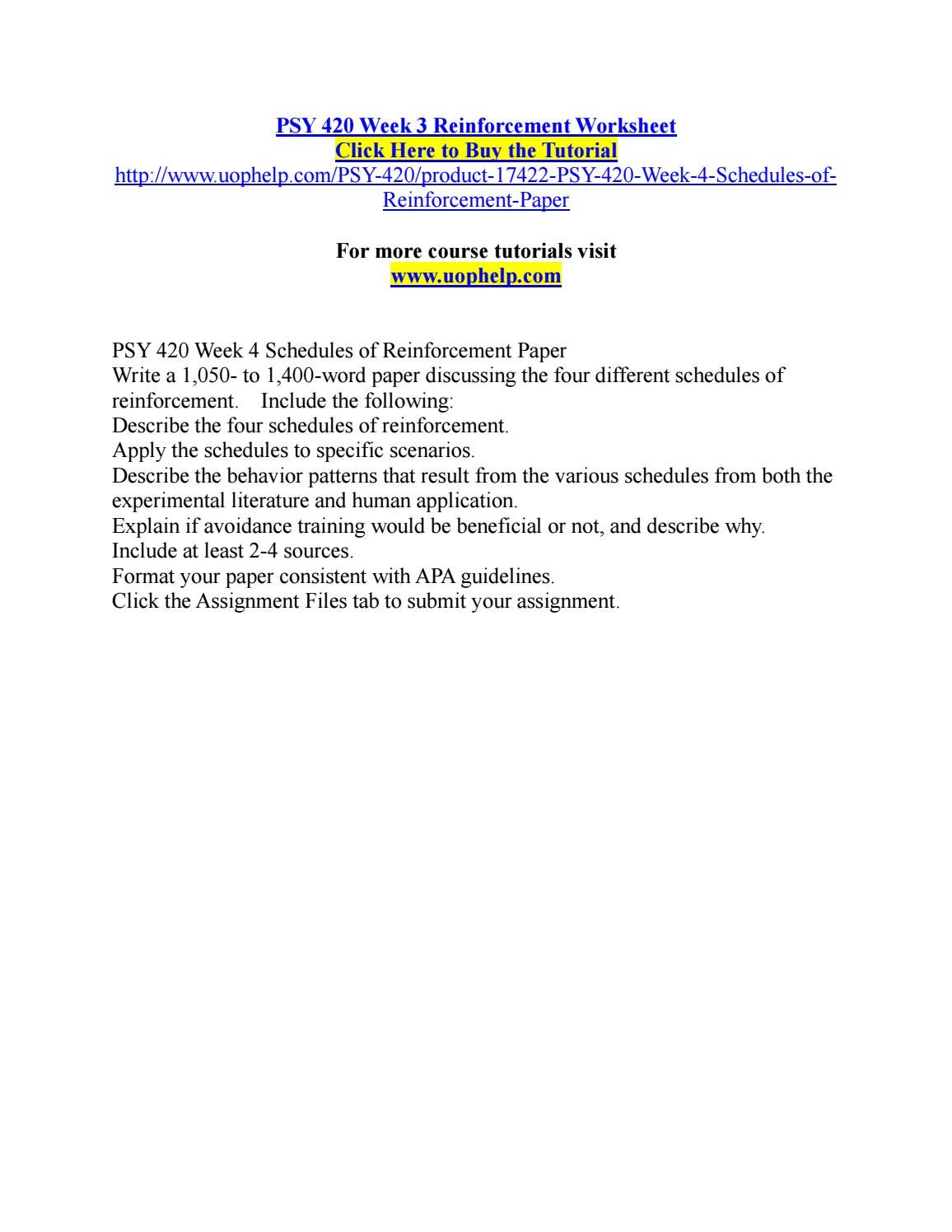 Worksheets Schedules Of Reinforcement Worksheet psy 420 week 3 reinforcement worksheet by bsdo29 issuu