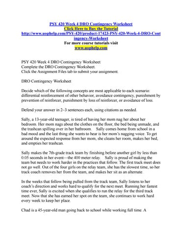 psy 420 week 4 dro contingency worksheet by bsdo29 issuu. Black Bedroom Furniture Sets. Home Design Ideas
