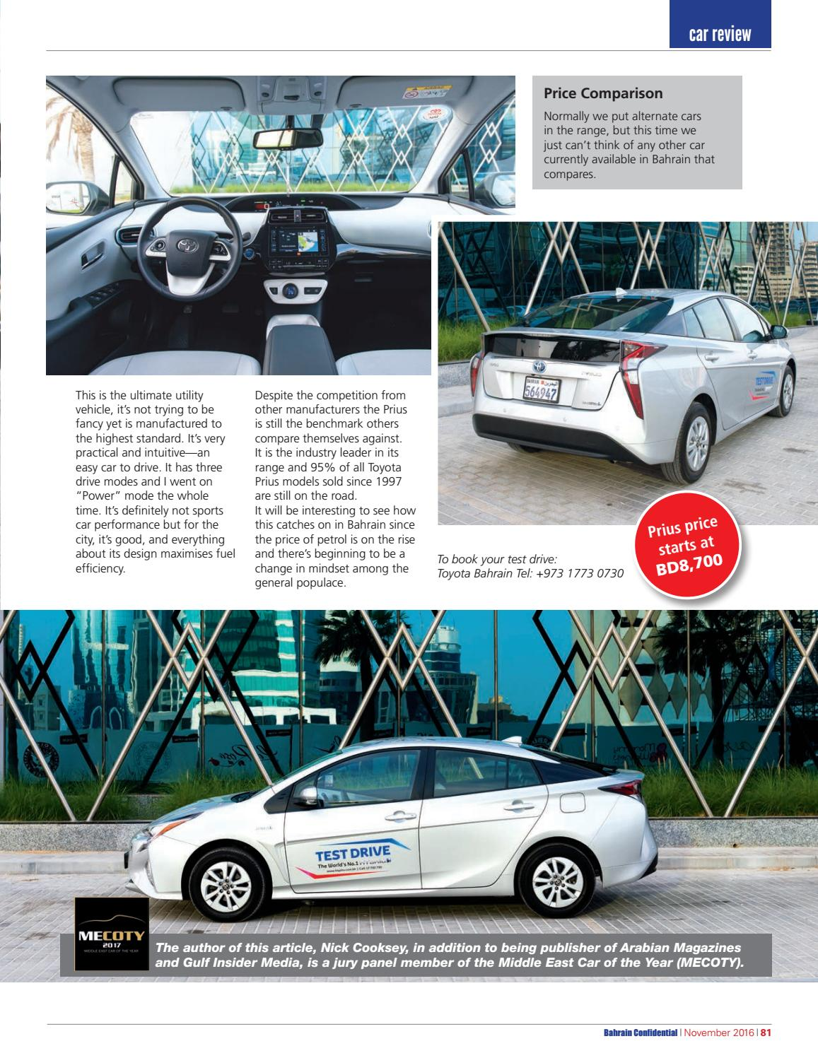 Compare Prius Models >> Bahrain Confidential November 2016 By Arabian Magazines Issuu