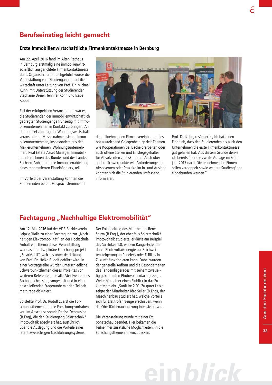 Einblick 202016 Das Magazin Der Hochschule Anhalt By Hochschule
