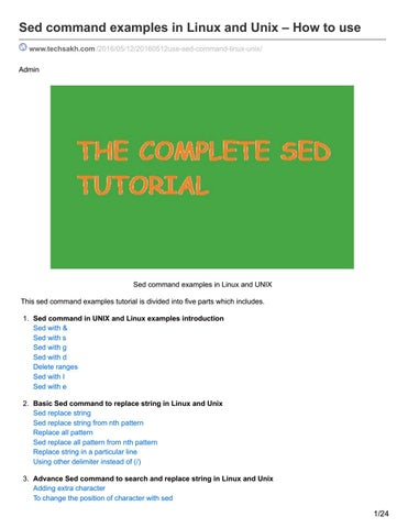 Techsakh com sed command examples in linux and unix how to