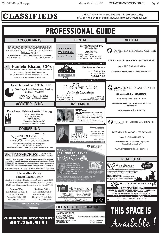 Fillmore County Journal - 10 31 16 by Jason Sethre - issuu