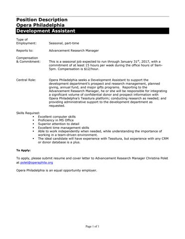 Development Assistant - Job Description by Opera ...