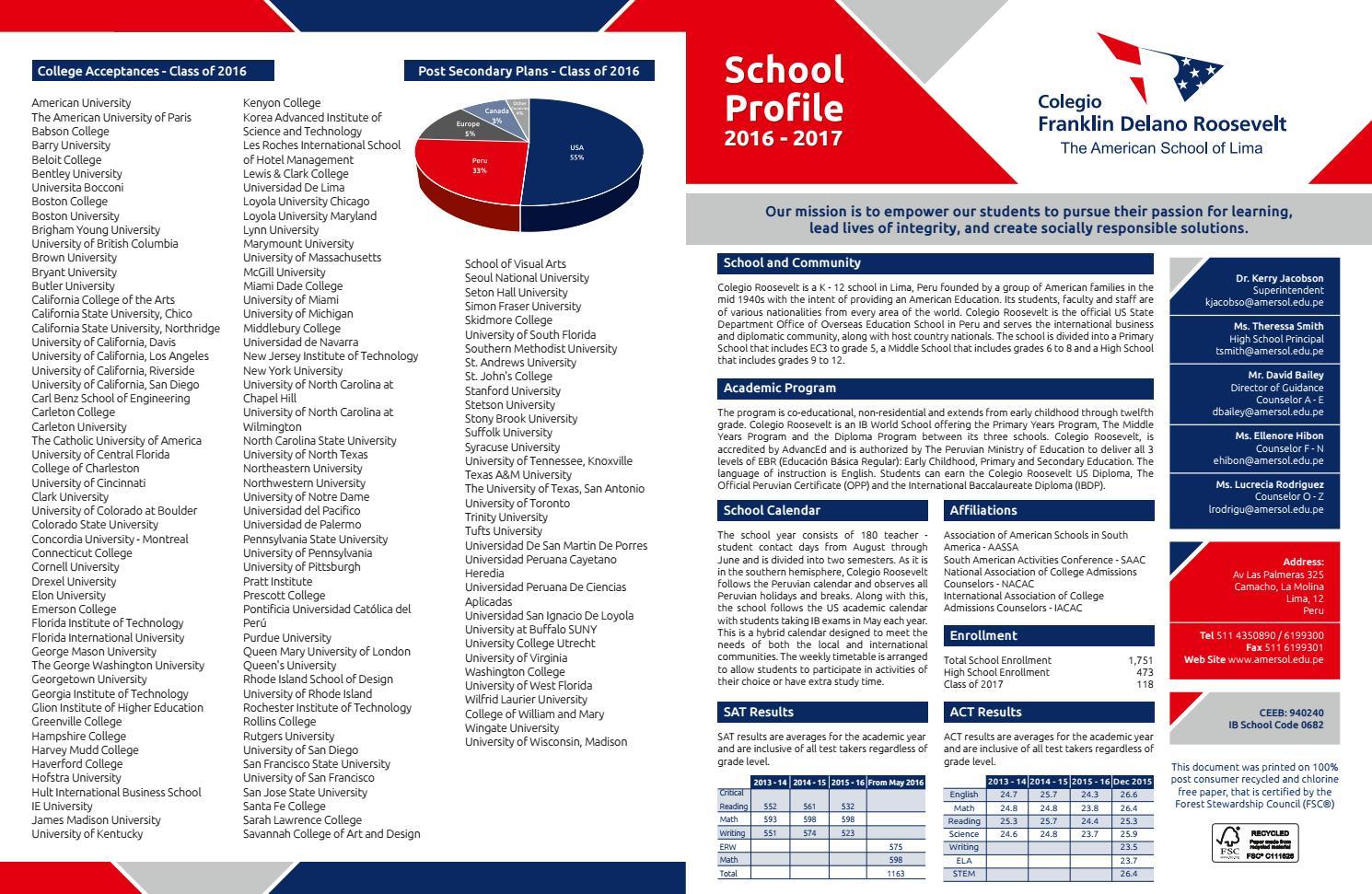 Colegio Roosevelt Profile 2016-17 by ColegioRoosevelt - issuu
