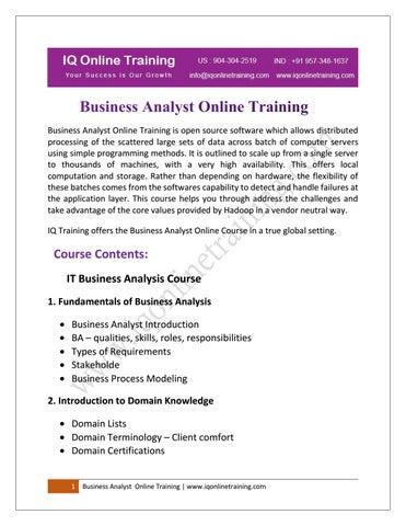 Business Analysis Training | Business Analyst Certification- IQ ...