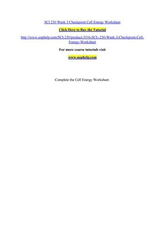 Sci 230 week 3 checkpoint cell energy worksheet by olymopicsgamesr ...