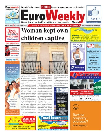 Euro weekly news costa blanca south 3 9 november 2016 issue 1635 page 1 fandeluxe Image collections