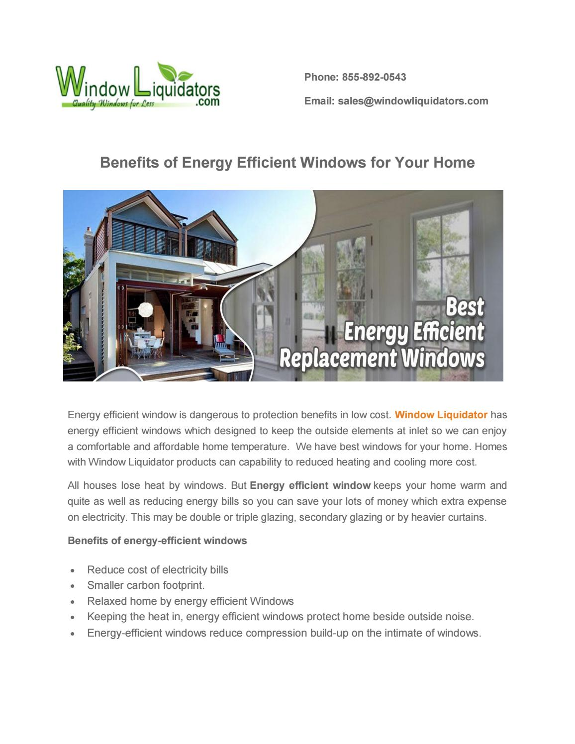 Benefits Of Energy Efficient Windows For Your Home By