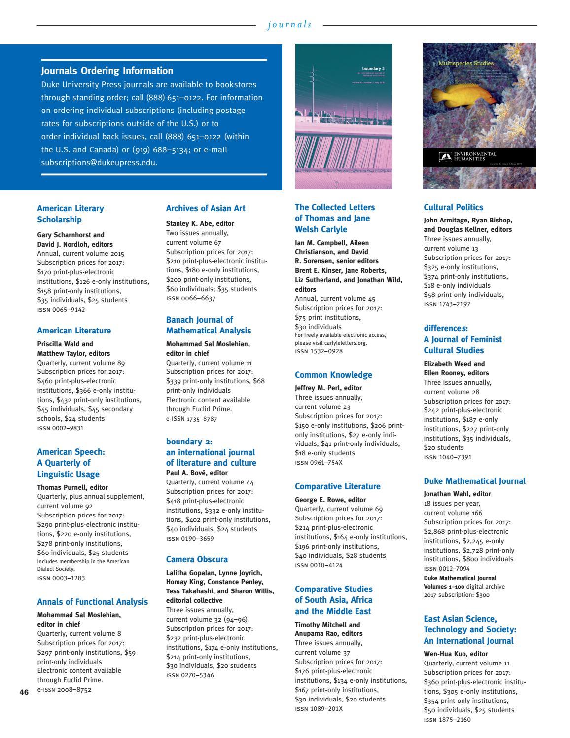 Duke University Press Spring & Summer 2017 Catalog by Duke
