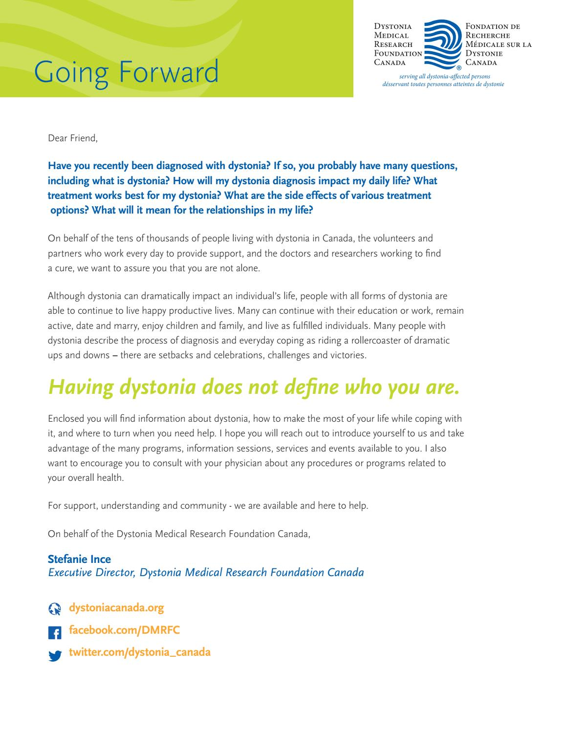 Going forward with dystonia by dystonia medical research foundation going forward with dystonia by dystonia medical research foundation issuu solutioingenieria Gallery