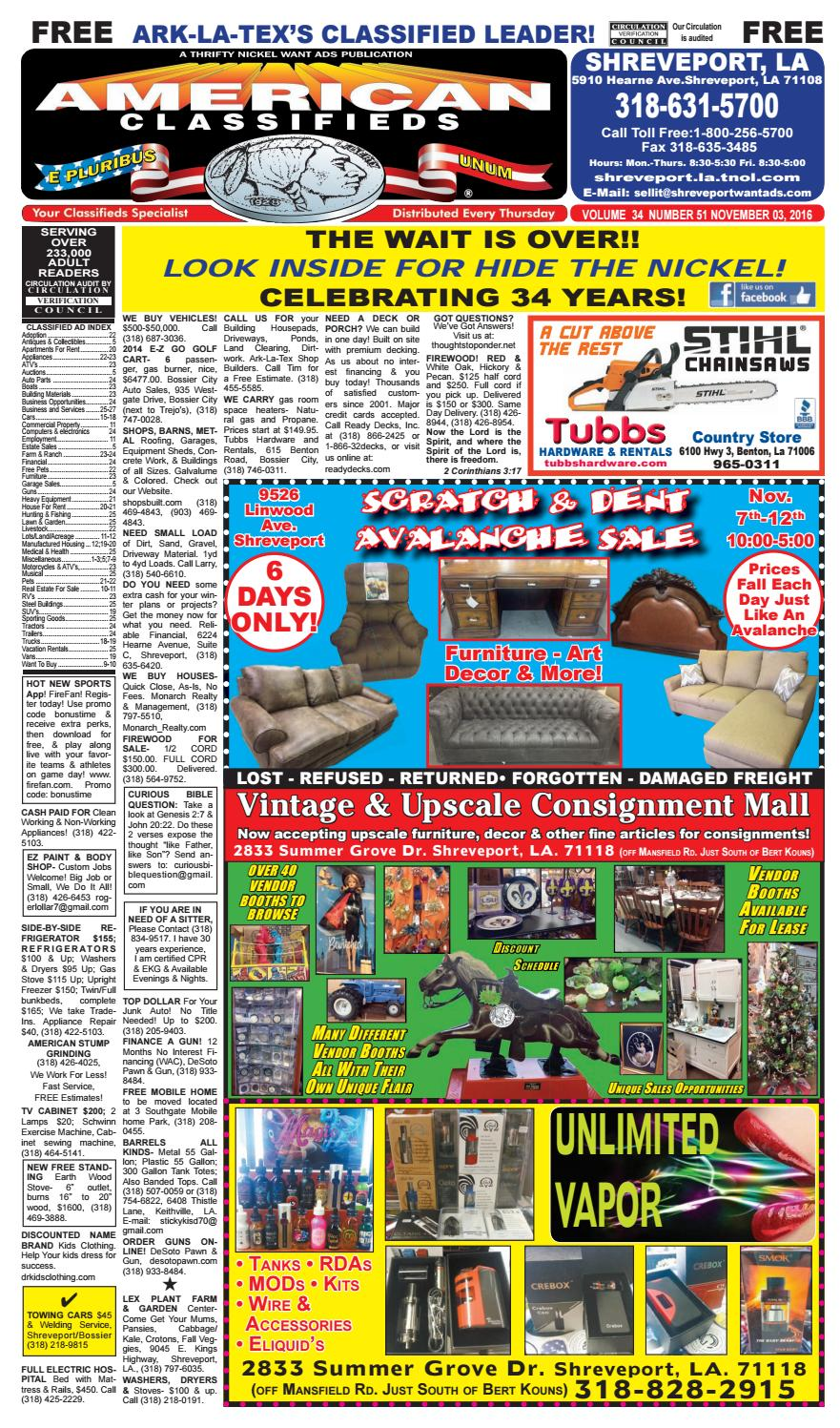 American Classifieds Shreveport LA Nov 03 2016 By