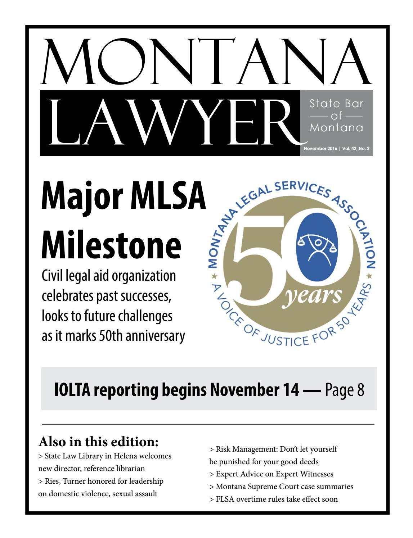 November 2016 montana lawyer web by State Bar of Montana - issuu