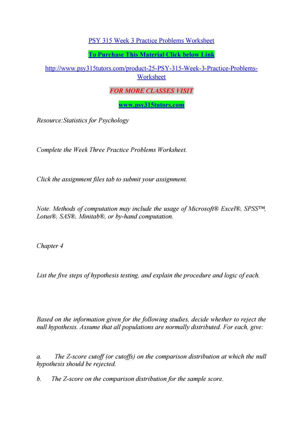 Psy 24 week 24 practice problems worksheet by chanduchagam24 - issuu Within Z Score Practice Worksheet