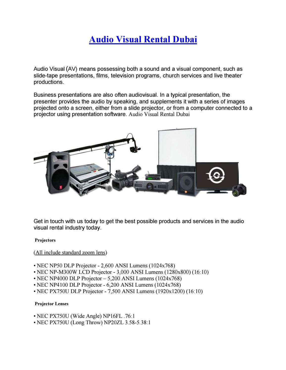 Audio Visual Rentals Dubai by alibhai - issuu