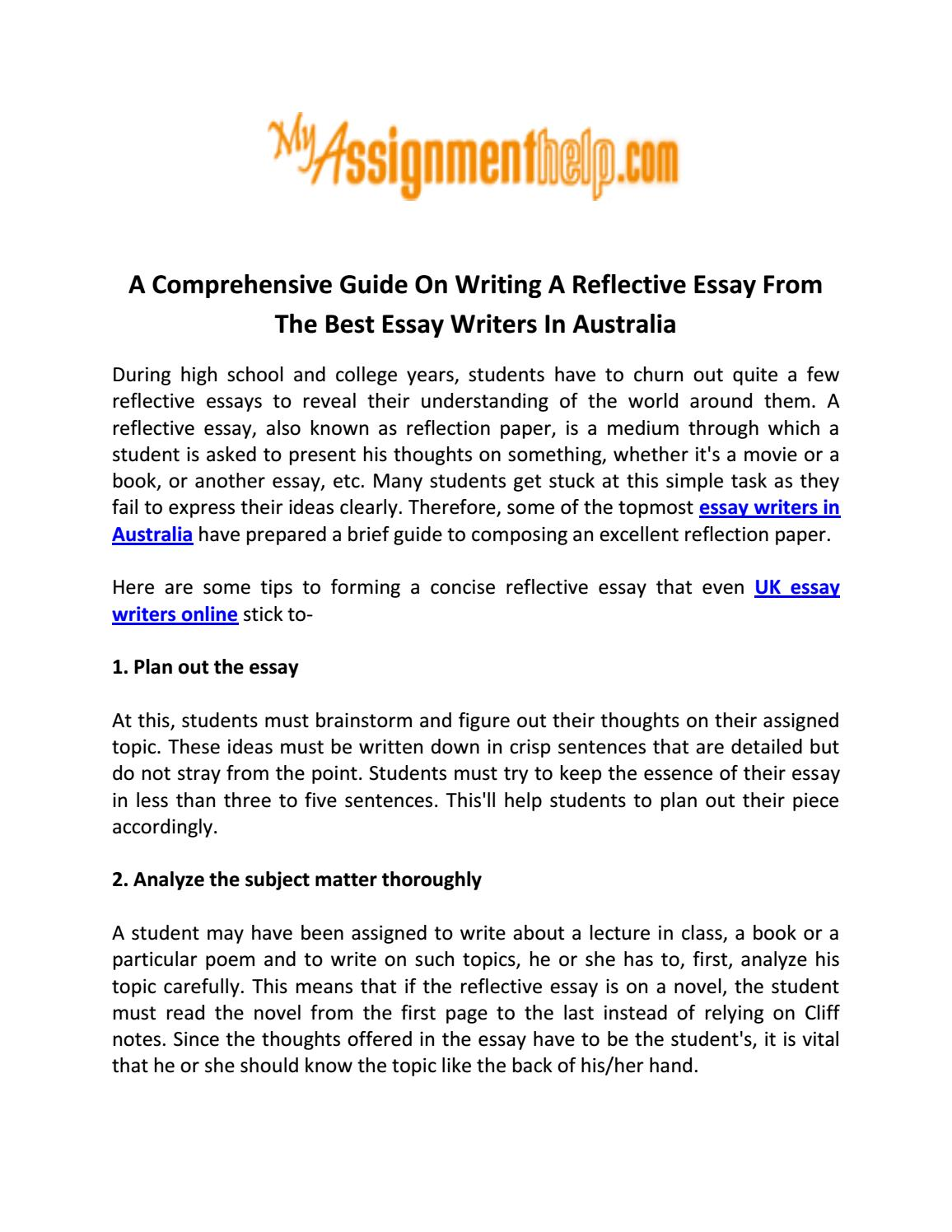 Persuade Essay A Comprehensive Guide On Writing A Reflective Essay From The Best Essay  Writers In Australia By Brody Walker  Issuu Informative And Surprising Essay Topics also Essays About Romeo And Juliet A Comprehensive Guide On Writing A Reflective Essay From The Best  Merchant Of Venice Essay