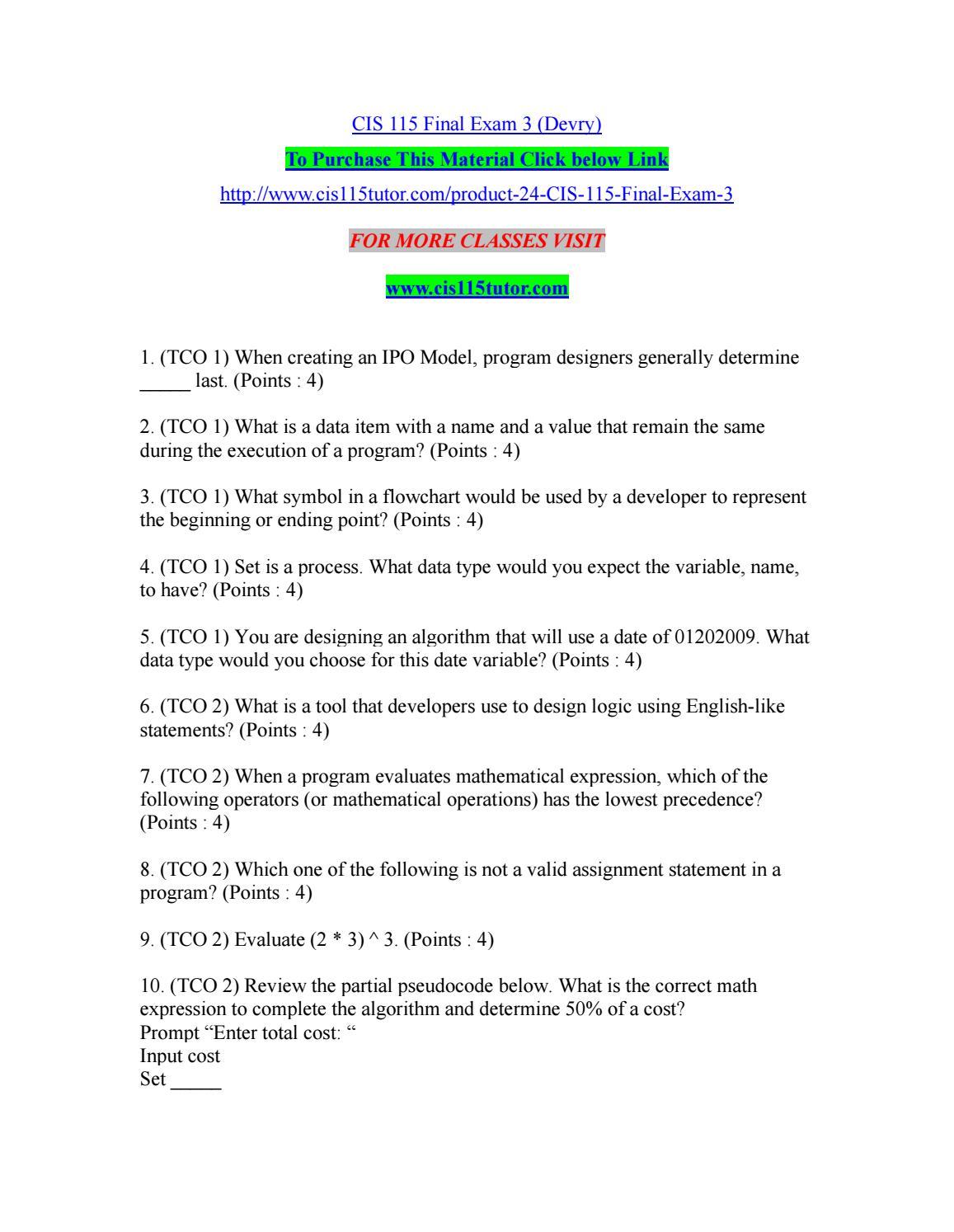 Cis 115 final exam 3 devry by watsonmickey issuu biocorpaavc Gallery