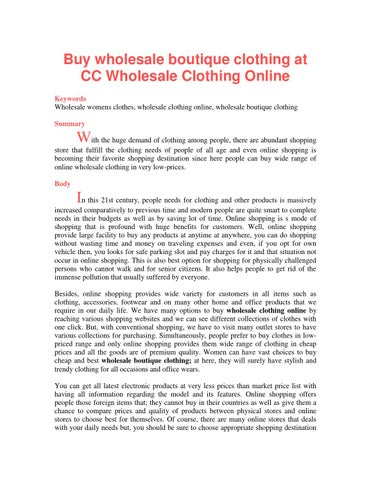 Buy wholesale boutique clothing at CC Wholesale Clothing Online by ...
