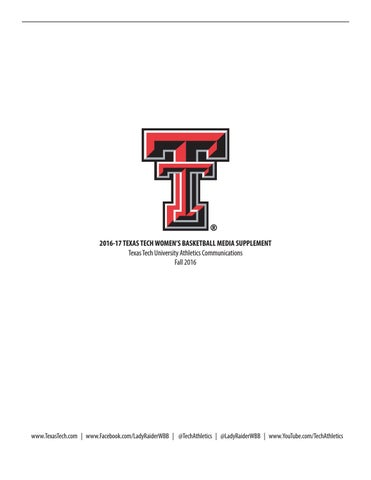 7348b181d213 2016-17 Texas Tech Lady Raider Basketball Media Supplement by Texas ...