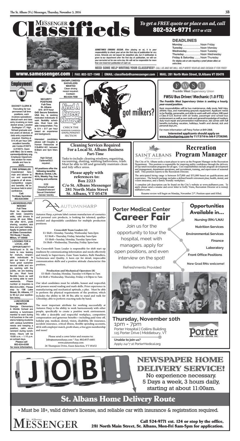 Classifieds 11/03/2016 by St  Albans Messenger - issuu