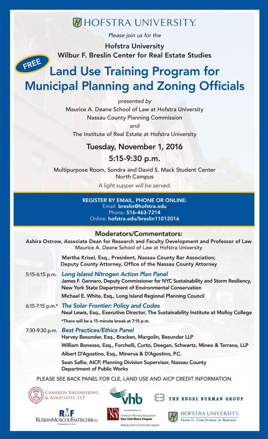 Center For Real Estate Studies: Invite: Land Use Training Program For Municipal Planning