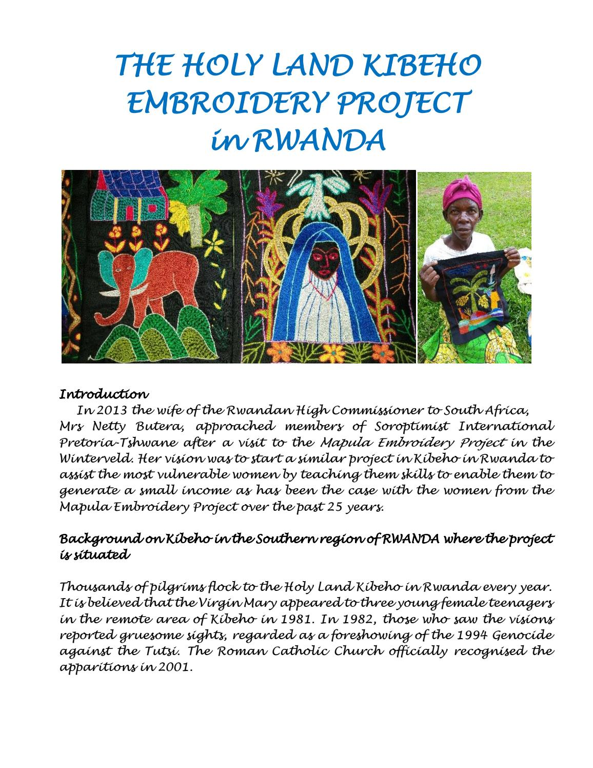 The Holy Land Kibeho Embroidery Project in Rwanda by