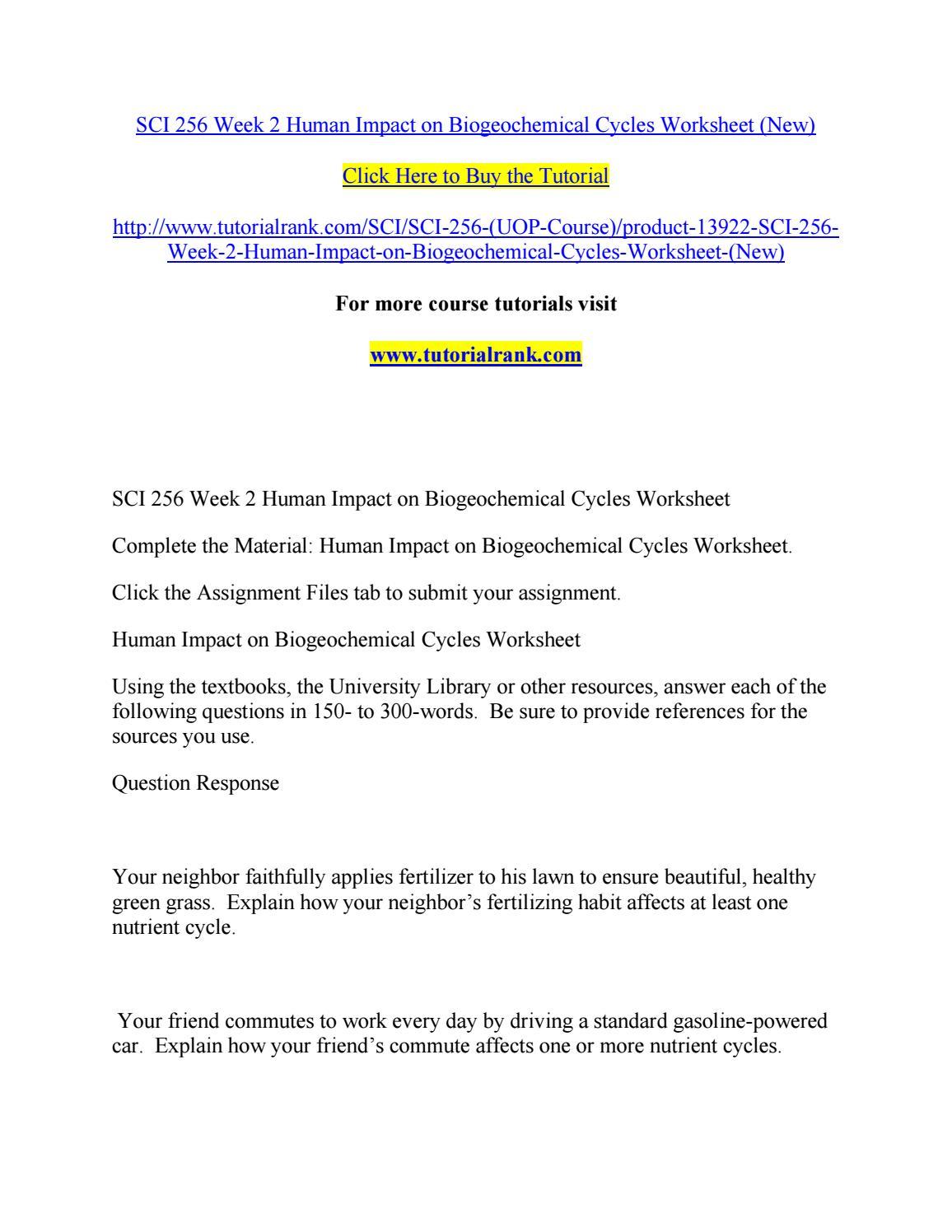Sci 256 Week 2 Human Impact On Biogeochemical Cycles