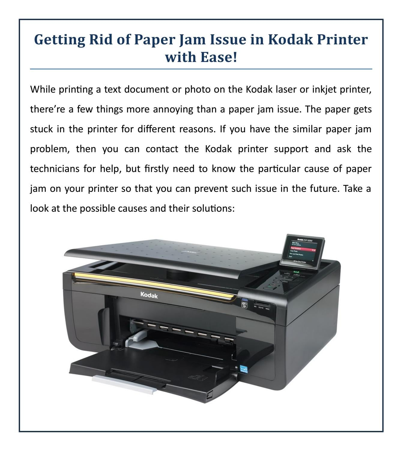 Getting Rid of Paper Jam Issue in Kodak Printer with Ease ...