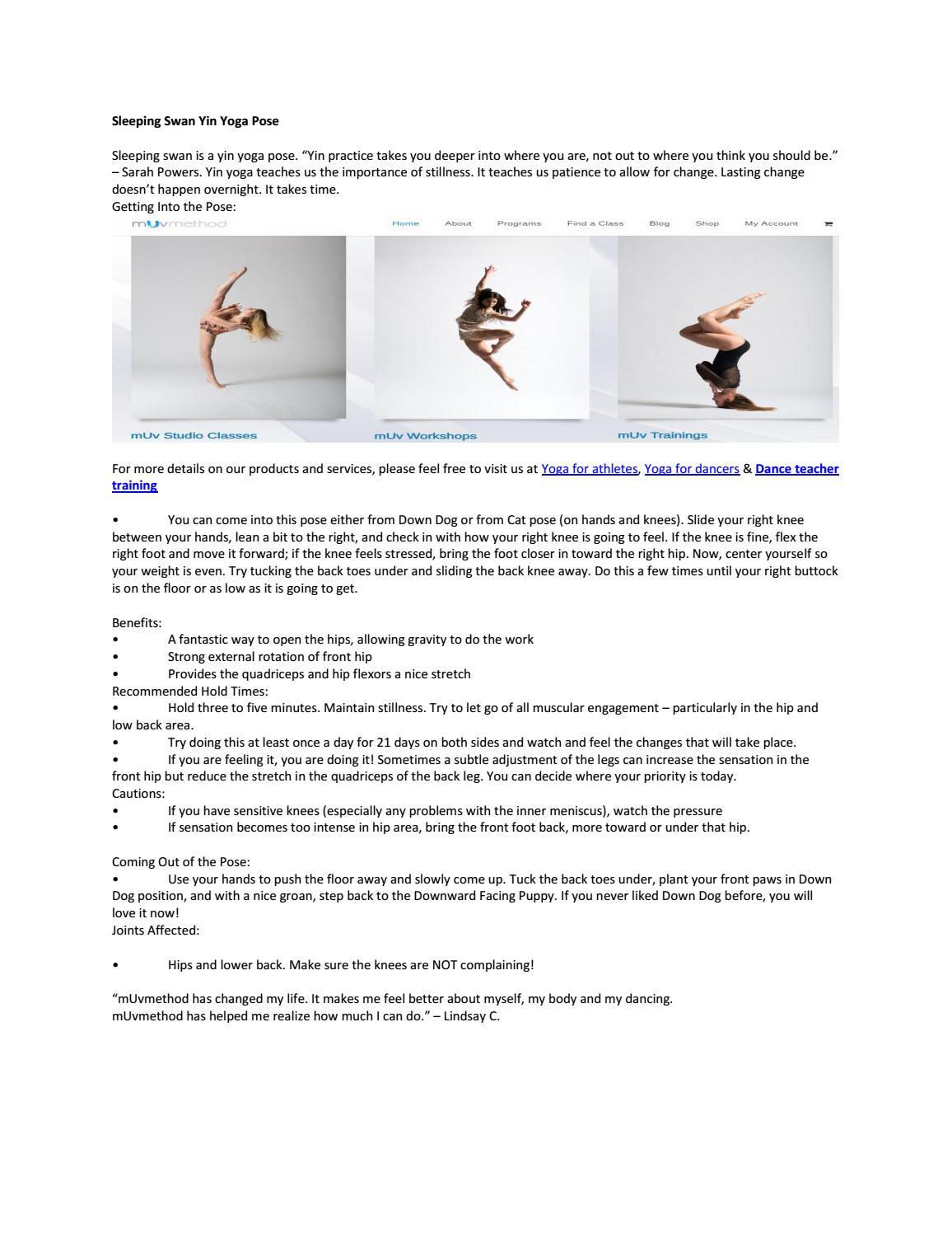 Sleeping Swan Yin Yoga Pose By MUvmethod