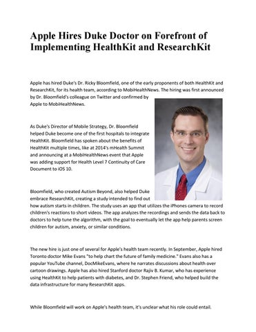 Apple hires duke doctor on forefront of implementing healthkit and