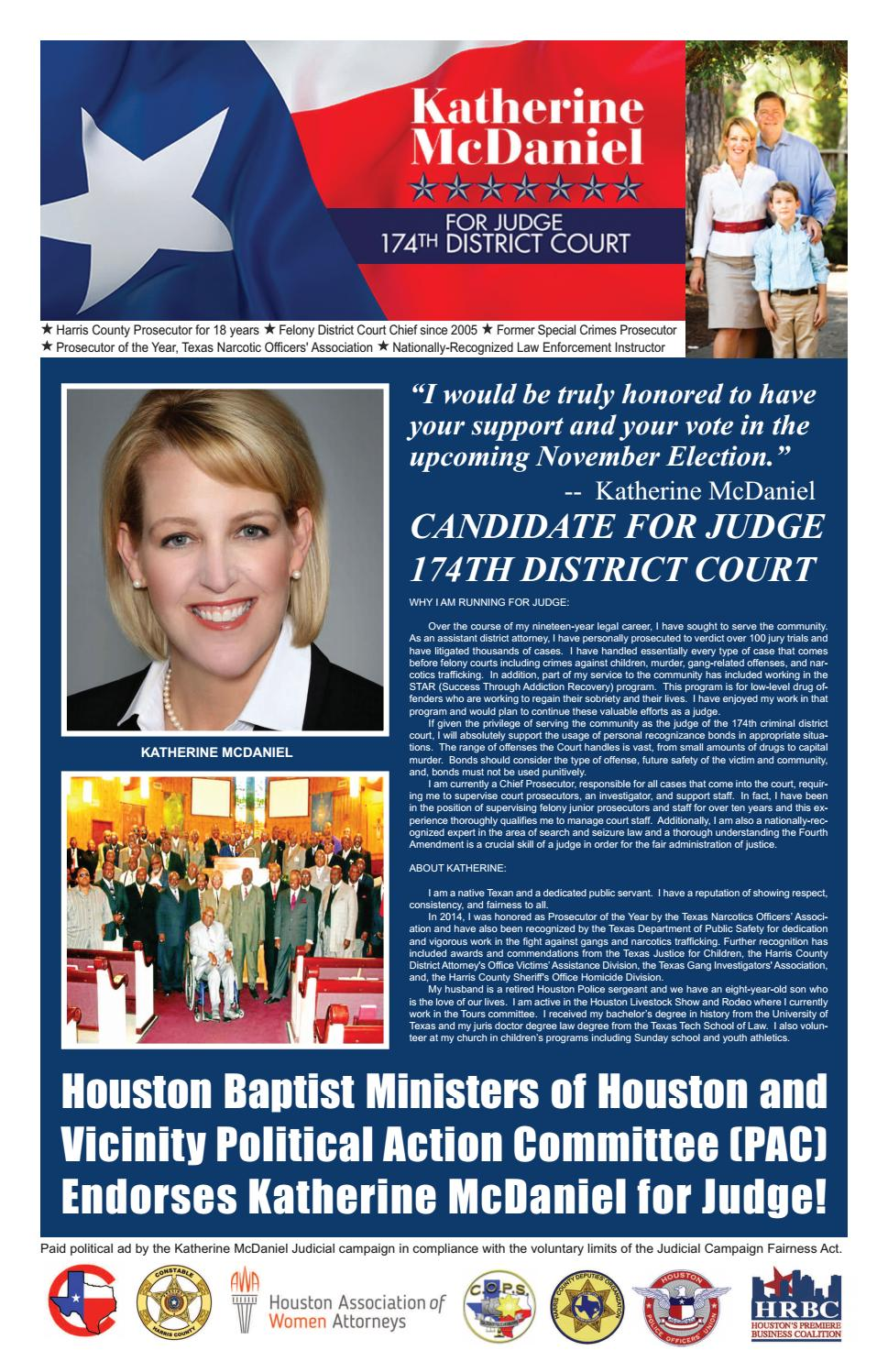 District judge 174th judicial district - 2016 General Election Endorsements From Houston Business Connections Newspaper By Aubrey R Taylor Communications Issuu
