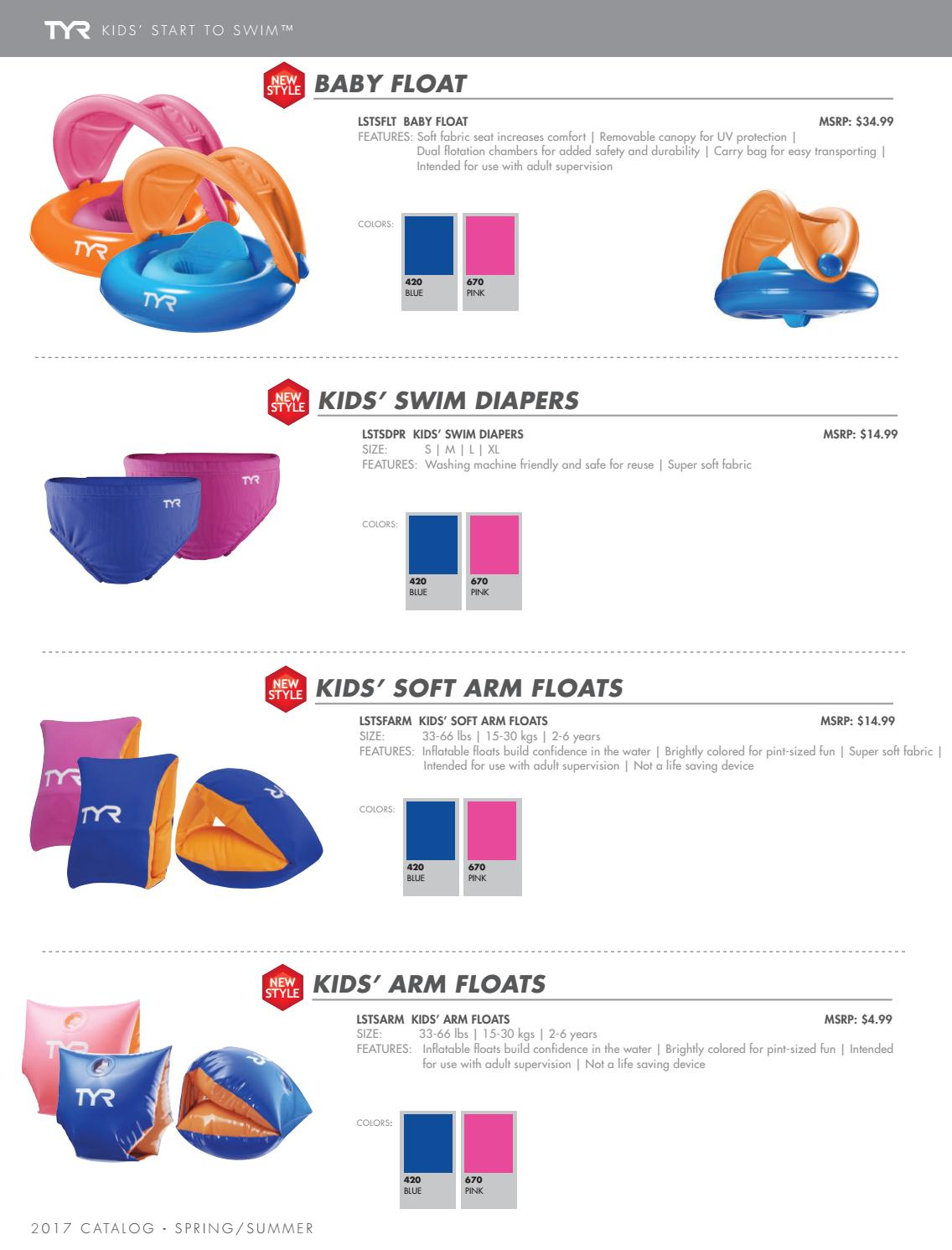 TYR Start To Swim Arm Floats kids 33-66 lbs inflatable floats build confidence