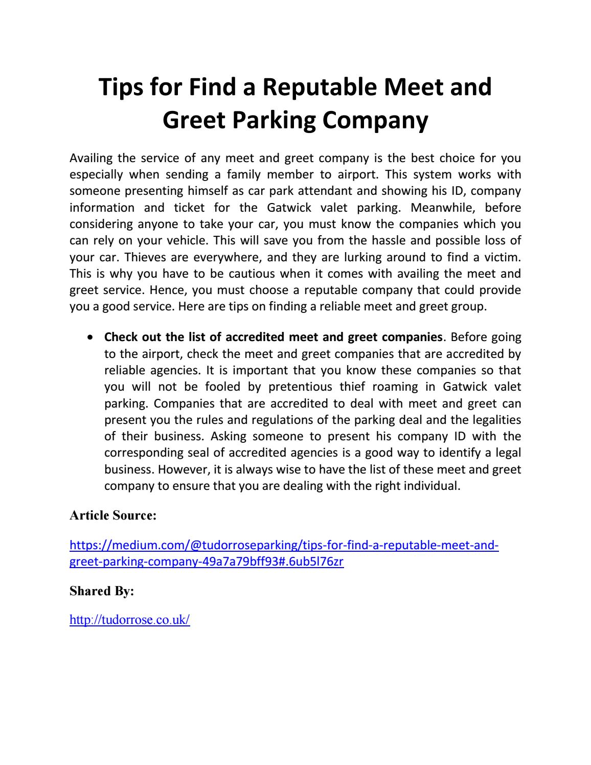 Tips For Find A Reputable Meet And Greet Parking Company By Tudor